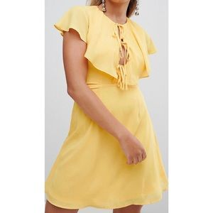 HOST PICK 💕 Yellow tea dress with tie cape detail